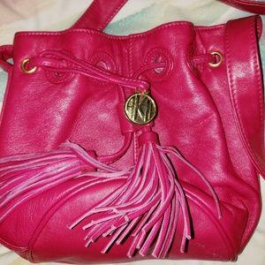 Vintage Hot Pink Leather Anne Klein Crossbody